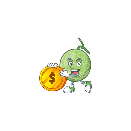 Bring coin design melon cartoon character for fruit logo. vector illustration