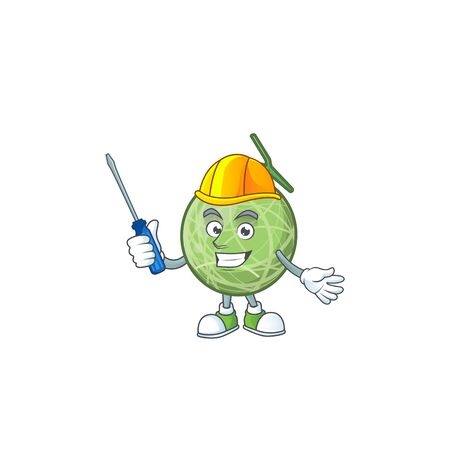 Automotive design melon cartoon character for fruit. vector illustration