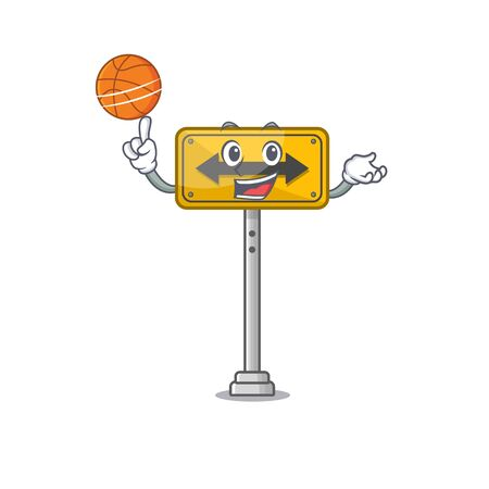 With basketball pass on either side isolated cartoon vector illustration Illustration