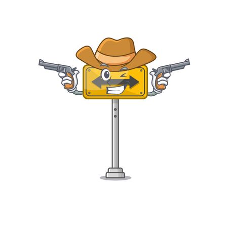 Cowboy pass on either side isolated cartoon vector illustration