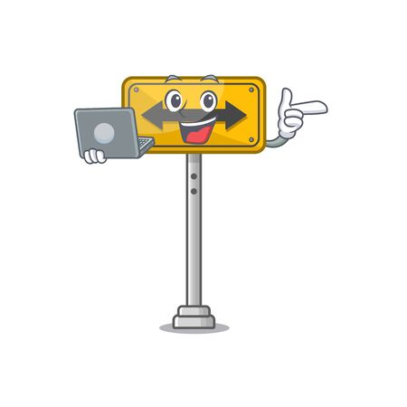 With laptop pass on either side isolated cartoon vector illustration