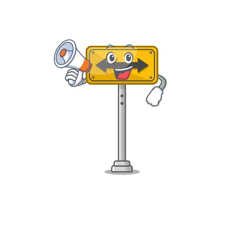 With megaphone pass on either side isolated cartoon vector illustration