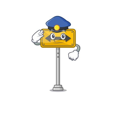 Police pass on either side isolated cartoon vector illustration Illustration