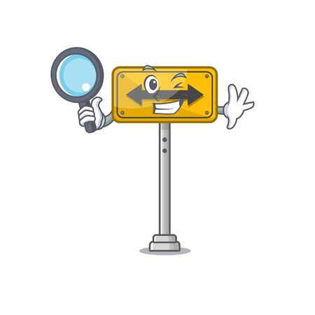 Detective pass on either side shaped character vector illustration