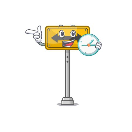 With clock pass on either side shaped character vector illustration