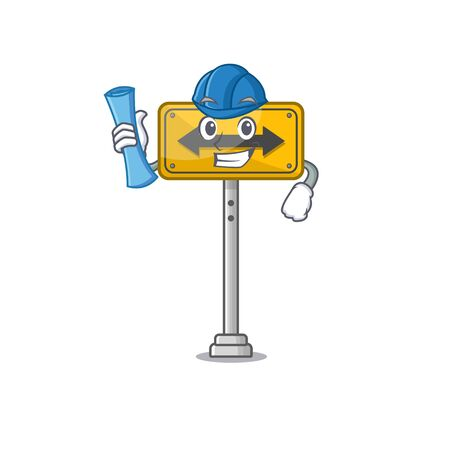 Architect pass on either side shaped character vector illustration