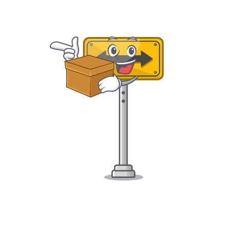 With box pass on either side shaped character vector illustration