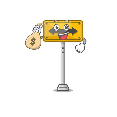 With money bag pass on either side isolated cartoon vector illustration Illustration