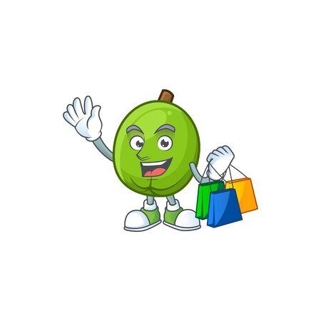 Mascota casimiroa fresca de compras sobre fondo blanco.