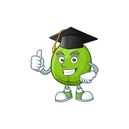 Graduation fresh casimiroa mascot on white background. Illustration