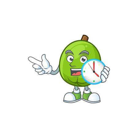 With clock fresh casimiroa mascot on white background. Illustration