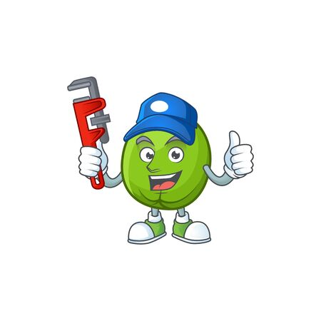Plumber casimiroa fruit with cartoon mascot style. 向量圖像