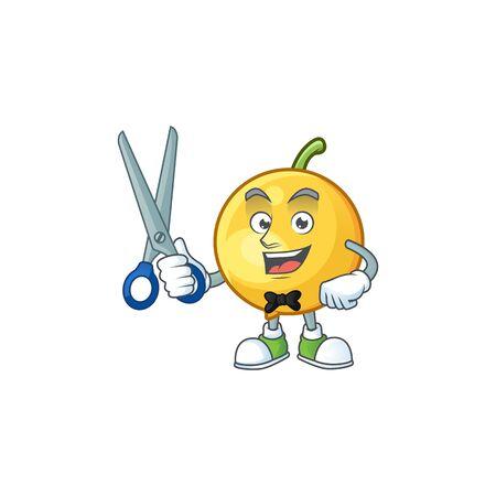 Barber mundu fruit mascot on white background. Archivio Fotografico - 130369326