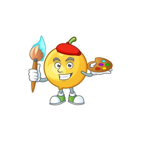 Painter mundu fruit mascot on white background. Stock Illustratie