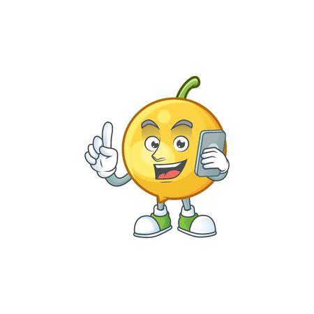 With phone mundu fruit mascot on white background.