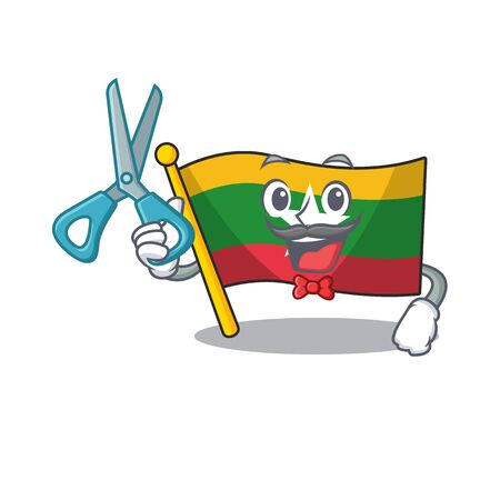 Barber flag myanmar isolated in the mascot vector illustration Archivio Fotografico - 130324421