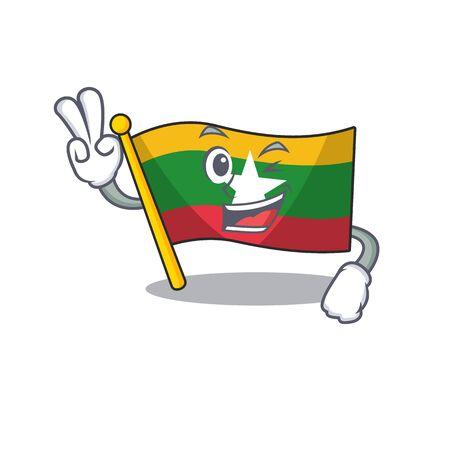Two finger flag myanmar was hoisted cartoon pole vector illustration Ilustração