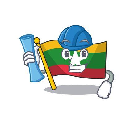Architect flag myanmar was hoisted cartoon pole vector illustration Ilustração