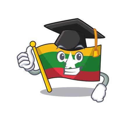 Graduation flag myanmar was hoisted cartoon pole vector illustration Ilustração
