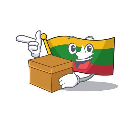 With box flag myanmar was hoisted cartoon pole vector illustration Ilustração