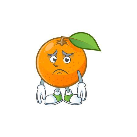 Afraid fresh orange with cartoon mascot shape