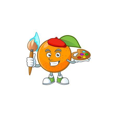 Painter orange fruit cartoon with leaf green. Stock Illustratie