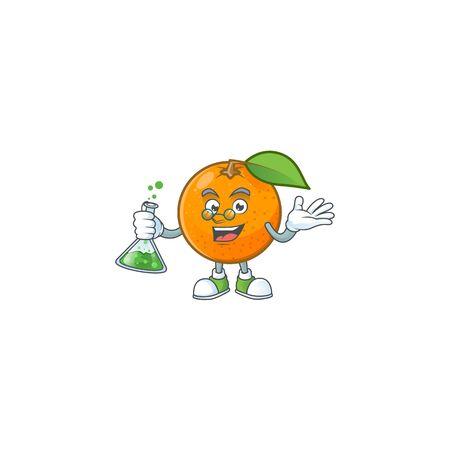 Professor sweet orange cartoon mascot for juice