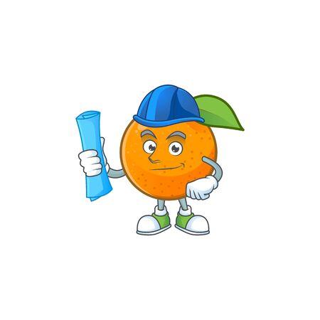 Architect sweet orange cartoon mascot for juice