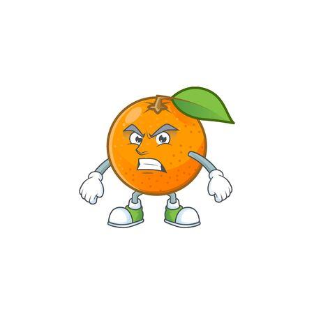 Scream sweet orange cartoon mascot for juice Ilustração
