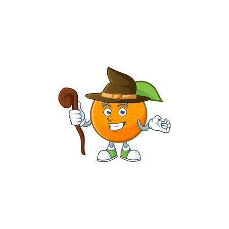 Witch fresh orange with cartoon mascot shape