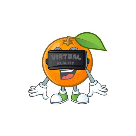 Virtual reality fresh orange with cartoon mascot shape