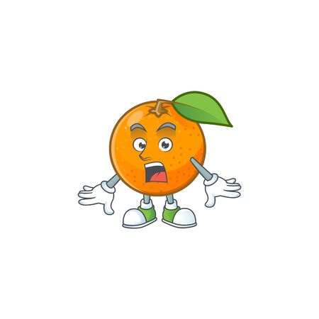 Surprised fresh orange with cartoon mascot shape