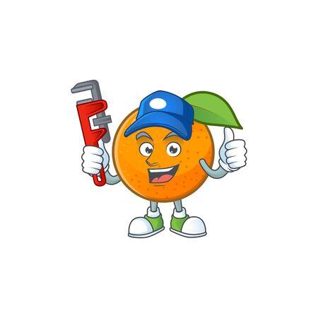 Plumber orange fruit cartoon mascot on white background. vector illustration
