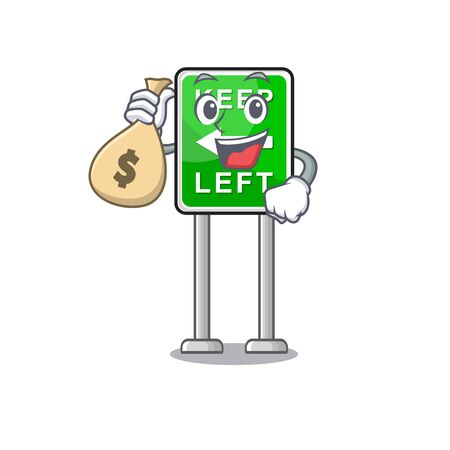 With money bag Keep Left mascot shape in character vector illustration Illustration