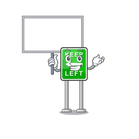 Bring board Keep Left mascot shape in character vector illustration