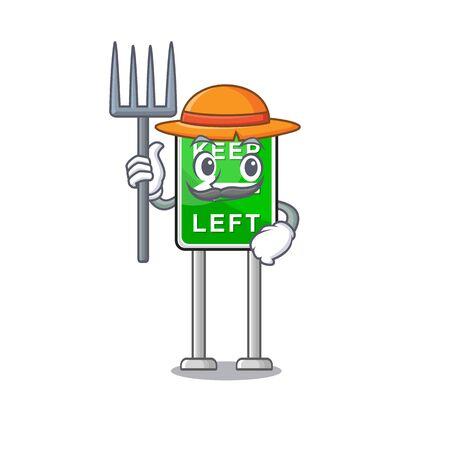 Farmer Keep Left mascot shape in character vector illustration