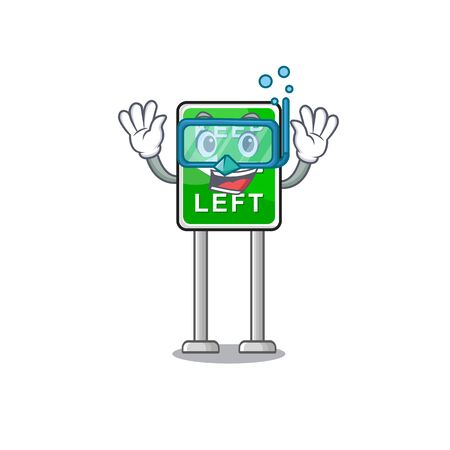 Diving Keep left cartoon isolated the mascot vector illustration Иллюстрация