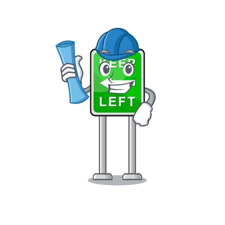 Architect Keep left cartoon isolated the mascot vector illustration Stock Illustratie