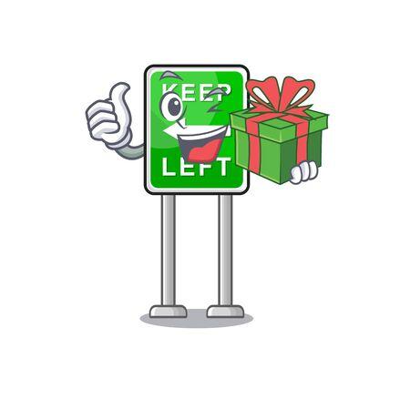 With gift keep left on side mascot road vector illustration Ilustração