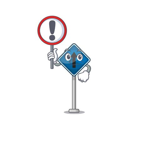 With sign straight ahead isolated with in cartoon vector illustration