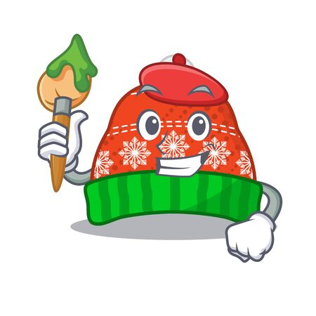 Artist winter hat isolated in the character vector illustration
