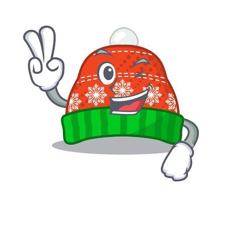 Two finger winter hat in the mascot shape vector illustration
