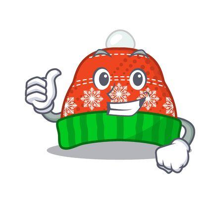 Thumbs up chapeau d'hiver dans l'illustration vectorielle de forme mascotte