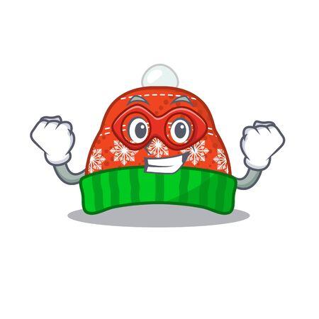 Super hero winter hat in the mascot shape vector illustration Illustration