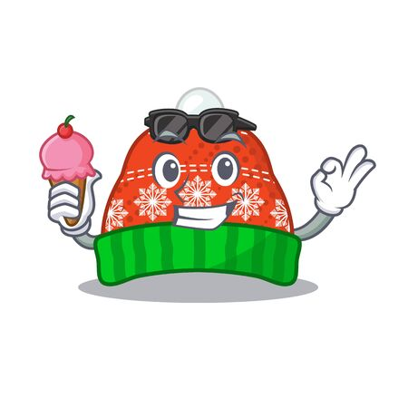 With ice cream winter hat in the mascot shape vector illustration Illustration