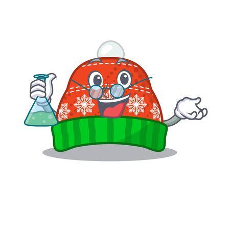 Professor winter hat in the mascot shape vector illustration Çizim