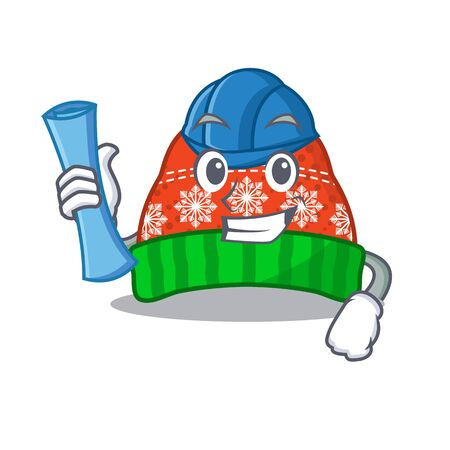 Architect winter hat in the mascot shape vector illustration Illustration