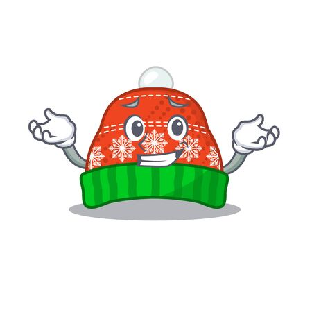 Grinning winter hat in the mascot shape vector illustration