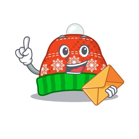 With envelope winter hat in the mascot shape vector illustration Illustration