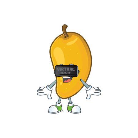 Virtual reality character mango fruit with cartoon mascot